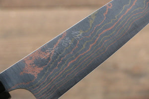 Takeshi Saji Blue Steel No.2 Colored Damascus Petty-Utility Japanese Knife 150mm with Ebony with Ring Handle