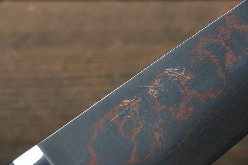 Takeshi Saji Blue Steel No.2 Colored Damascus Maki-e Art  Gyuto Japanese Knife 240mm with Lacquered Handle (Fuji) - Japanny - Best Japanese Knife
