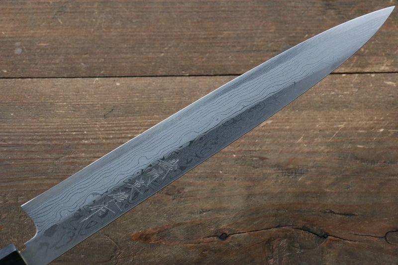 [Left Handed] Hideo Kitaoka White Steel No.2 Damascus Yanagiba Japanese Chef Knife 240mm - Japanny - Best Japanese Knife