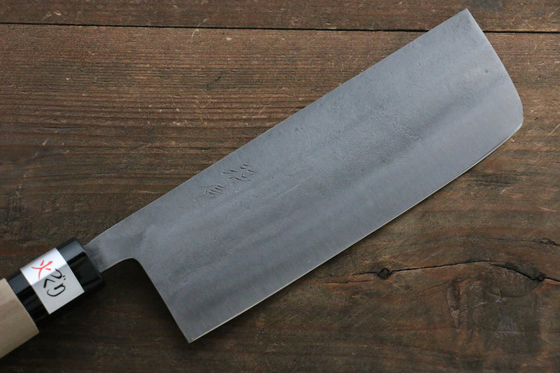 Fujiwara Teruyasu White Steel No.1 Nashiji Nakiri Japanese Knife 165mm with Magnolia Handle - Japanny - Best Japanese Knife