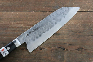 Fujiwara Teruyasu Fujiwara Teruyasu Maboroshi White Steel No.1 Nashiji Hammered Santoku Japanese Knife 180mm with Black Pakka wood Handle