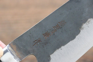Fujiwara Teruyasu Fujiwara Teruyasu Denka Blue Super Black Finished Santoku Japanese Knife 165mm with Black Pakka wood Handle