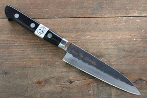 Fujiwara Teruyasu Fujiwara Teruyasu Denka Blue Super Black Finished Petty-Utility Japanese Knife 120mm with Black Pakka wood Handle