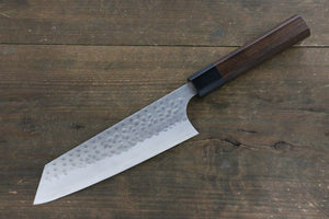 Yoshimi Kato Silver Steel No.3 Hammered Bunka Japanese Chef Knife 160mm with Shitan Rosewood Handle