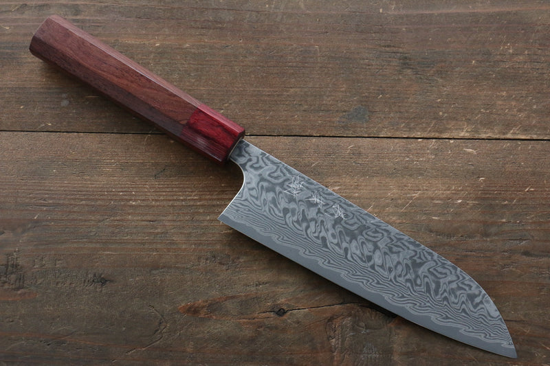 Yoshimi Kato R2/SG2 Damascus Santoku Japanese Knife 170mm Red Honduras Handle - Japanny - Best Japanese Knife