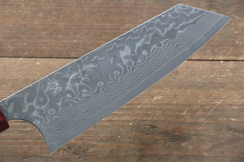 Yoshimi Kato R2/SG2 Damascus Bunka Japanese Knife 165mm Red Honduras Handle - Japanny - Best Japanese Knife