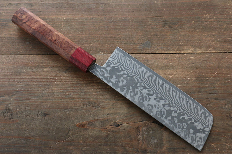 Yoshimi Kato R2/SG2 Damascus Nakiri Japanese Knife 165mm Red Honduras Handle - Japanny - Best Japanese Knife