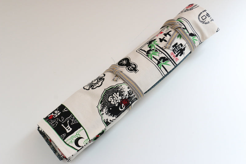 Japanese Style Knife Roll Shirosake-Ura-Greenkasuri 4 Pockets - Japanny - Best Japanese Knife