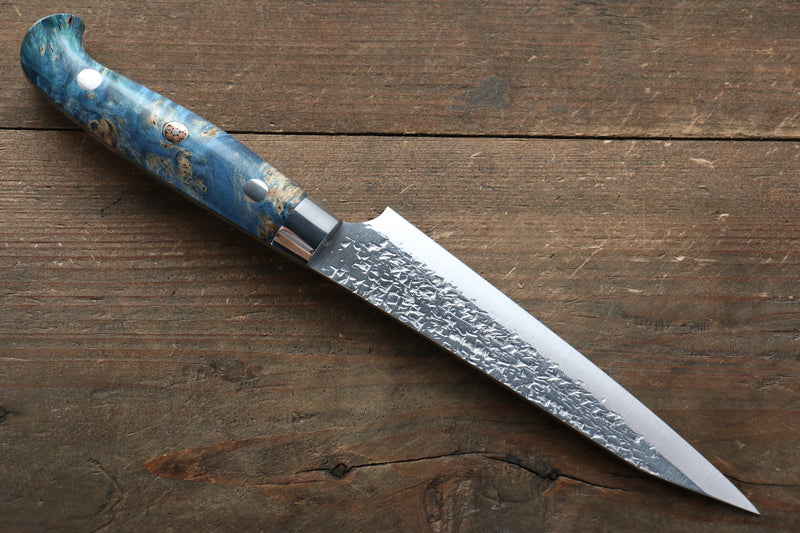 Yu Kurosaki Yu Kurosaki Shizuku R2/SG2 Hammered Petty-Utility Japanese Knife 130mm with Stabilized wood Handle - Japanny - Best Japanese Knife