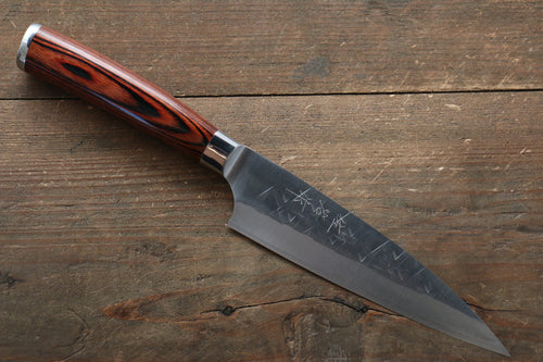 Takeshi Saji SRS13 Hammered Petty-Utility Japanese Knife 130mm with Red Pakka wood Handle - Japanny - Best Japanese Knife