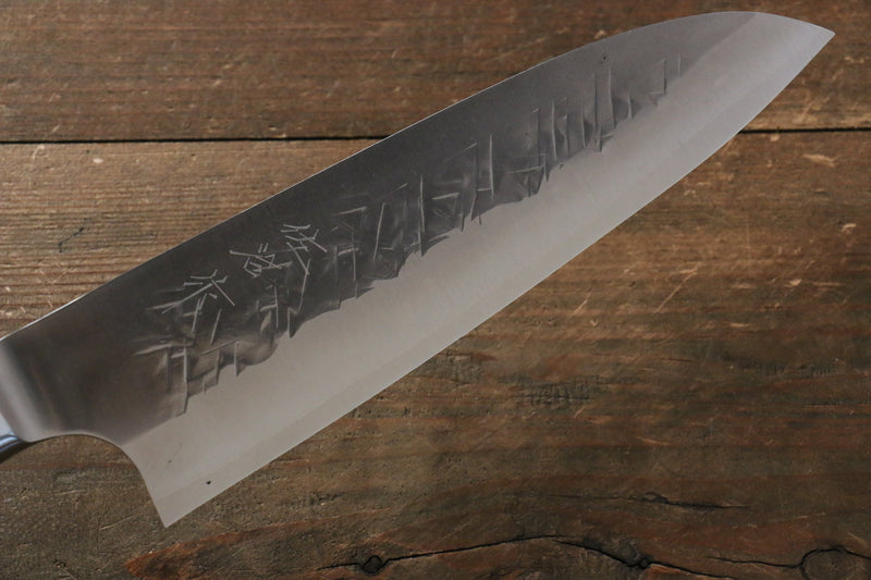 Takeshi Saji SRS13 Hammered Santoku Japanese Knife 180mm Red Pakka wood Handle - Japanny - Best Japanese Knife