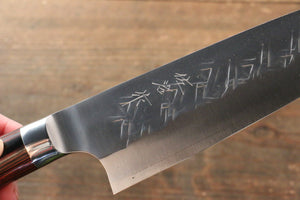 Takeshi Saji SRS13 Hammered Santoku Japanese Knife 180mm with Red Pakka wood Handle