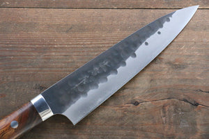 Takeshi Saji Blue Super Hammered  Gyuto Japanese Chef Knife 180mm with Iron Wood Handle