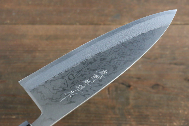[Left Handed] Hideo Kitaoka White Steel No.2 Damascus Deba Japanese Chef Knife 180mm - Japanny - Best Japanese Knife