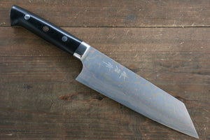 Takeshi Saji Blue Steel No.2 Colored Damascus  Bunka Japanese Chef Knife 175mm with Black Micarta handle