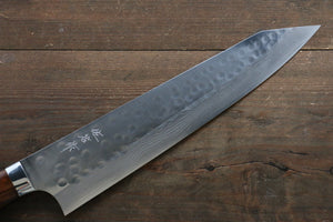 Takeshi Saji SRS13 Hammered Damascus Kiritsuke Japanese Chef Knife 270mm (Slender) with Iron Wood handle handle