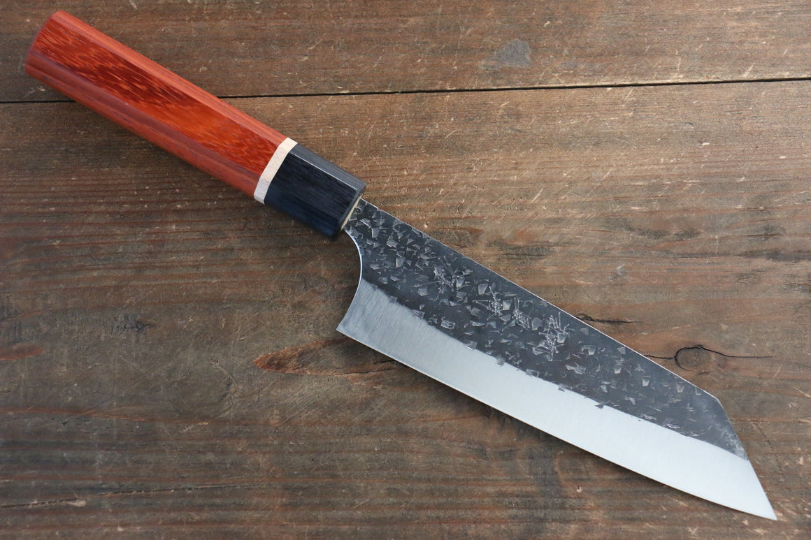 Yu Kurosaki Blue Super Clad Hammered Kurouchi Bunka Japanese Chef Knife 165mm with Padoauk Handle