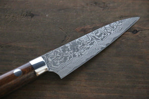 Saji R2/SG2 Black Damascus Petty Japanese Chef Knife 90mm with Iron Wood handle