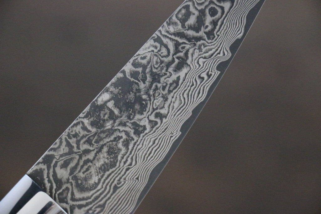 Saji R2/SG2 Black Damascus Petty Japanese Chef Knife 90mm wtih Iron Wood handle