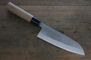 Seisuke Blue Steel No.2 Nashiji Santoku Japanese Chef Knife 165mm with Carbonized Wood Handle