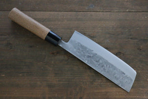 Seisuke Blue Steel No.2 Nashiji Nakiri Japanese Chef Knife 165mm with Carbonized Wood Handle