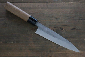 Seisuke Blue Steel No.2 Nashiji Hiraki Japanese Chef Knife 165mm with Carbonized Wood Handle