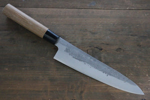 Seisuke Blue Steel No.2 Nashiji Gyuto Japanese Chef Knife 210mm with Carbonized Wood Handle