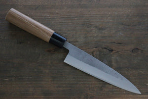 Seisuke Blue Steel No.2 Nashiji Petty Japanese Chef Knife 135mm with Carbonized Wood Handle