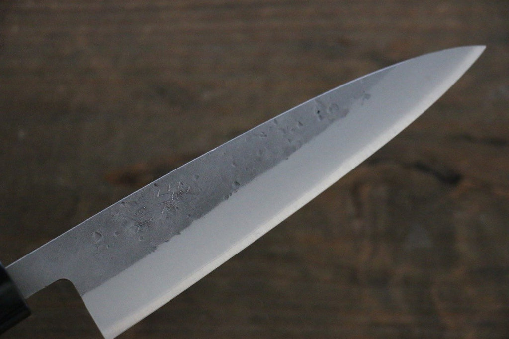 Seisuke Blue Steel No.2  Nashiji Petty Japanese Chef Knife 135mm wtih Burned Chestnut handle