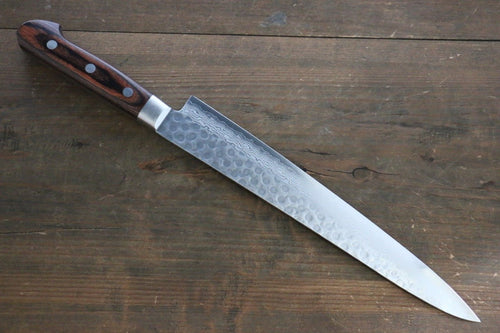 Seisuke VG10 17 Layer Damascus Sujihiki Japanese Knife 240mm Mahogany Handle - Japanny - Best Japanese Knife