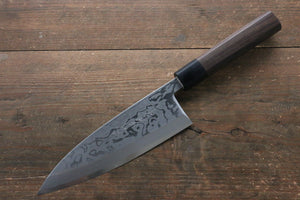 Hideo Kitaoka [Left Handed] Blue Steel No.2 Damascus Deba Japanese Knife 180mm with Shitan Handle