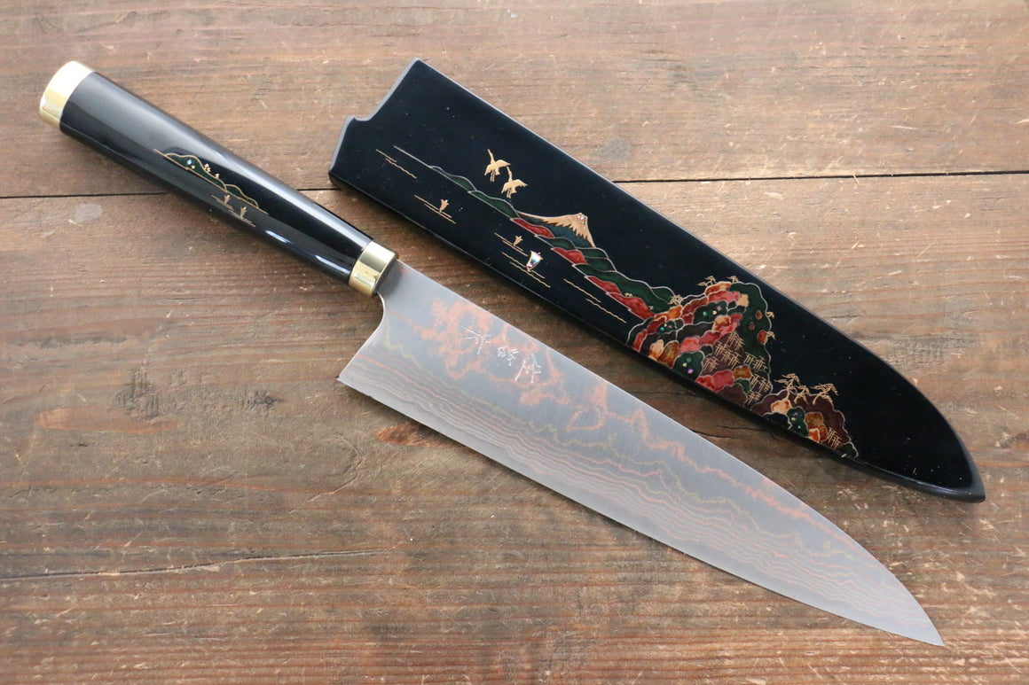 Takeshi Saji Blue Steel No.2 Colored Damascus Maki-e Art  Gyuto Japanese Knife 240mm with Lacquere Japanese Style Handle