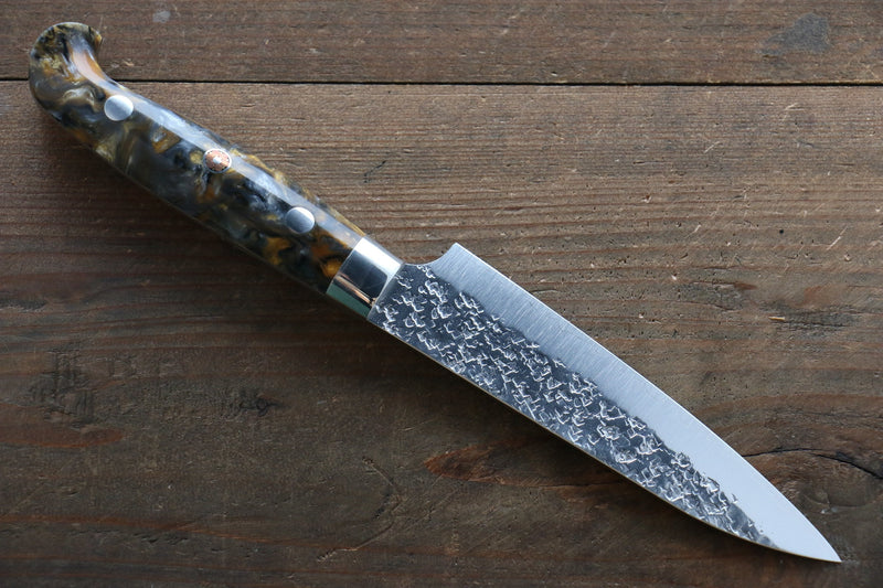 Yu Kurosaki R2/SG2 Hammered Petty Japanese Chef Knife 130mm with Brown Marble handle - Japanny - Best Japanese Knife