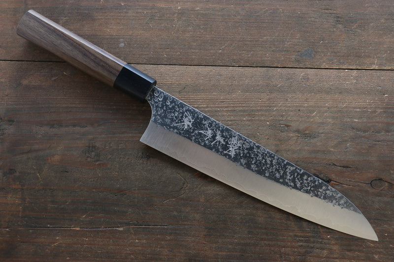 Yu Kurosaki Shizuku R2/SG Hammered Gyuto Japanese Chef Knife 210mm with Shitan handle (Black) - Japanny - Best Japanese Knife