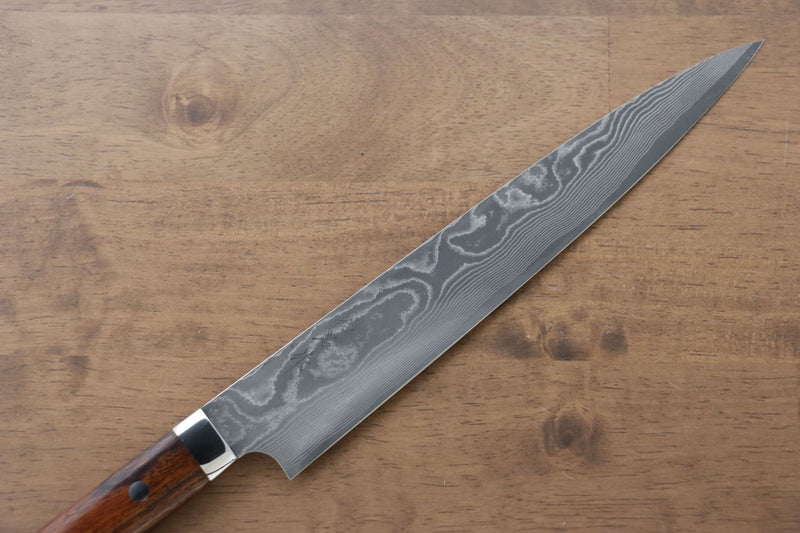 Takeshi Saji VG10 Black Damascus Sujihiki Japanese Knife 240mm Ironwood Handle - Japanny - Best Japanese Knife