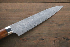 Saji R2/SG2 Diamond Finish Damascus Petty Japanese Chef Knife 135mm with Iron Wood handle