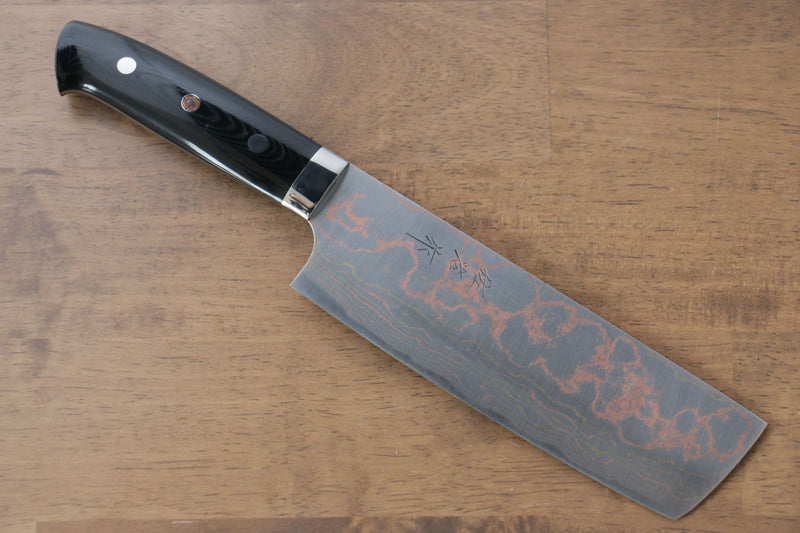 Takeshi Saji Blue Steel No.2 Colored Damascus Nakiri Japanese Knife 165mm Black Micarta Handle - Japanny - Best Japanese Knife