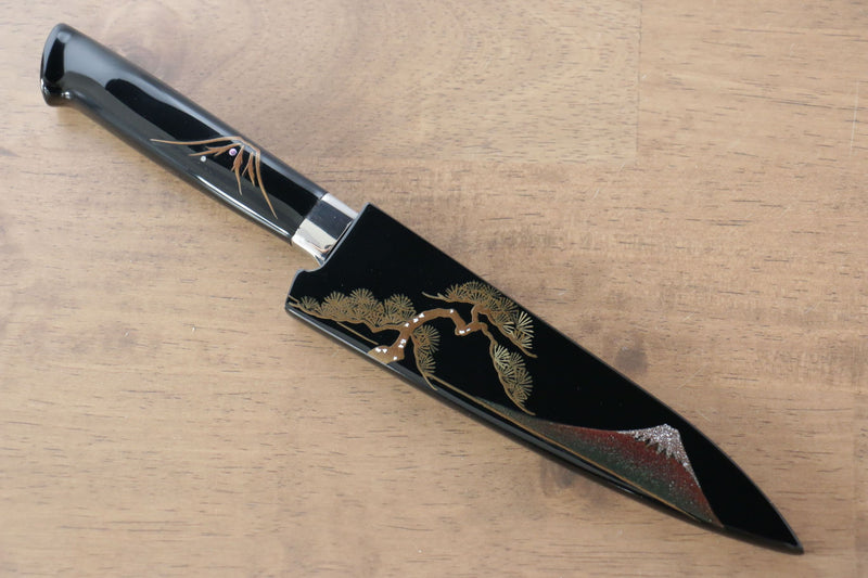Takeshi Saji Blue Steel No.2 Colored Damascus Petty-Utility Japanese Knife 130mm Lacquered Handle with Sheath - Japanny - Best Japanese Knife