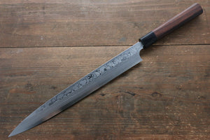 Hideo Kitaoka [Left Handed] Blue Steel No.2 Damascus Yanagiba Japanese Knife 300mm with Shitan Handle