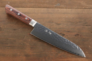 Seisuke VG10 33 Layer Damascus Hammered  Santoku Japanese Chef Knife 180mm With Mahogany Handle