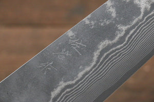 Takeshi Saji VG10 Black Damascus Bunka Japanese Knife 180mm with Brown Cow Bone  Handle