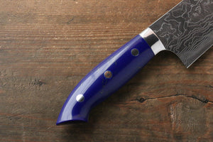 Takeshi Saji R2/SG2 Diamond Finish Damascus Gyuto Japanese Knife 240mm with Navy Blue Turquoise (Nomura Style) Handle