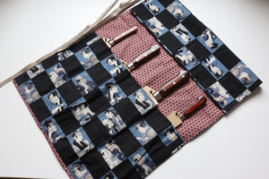 Japanese Style Knife Roll Aokabuki-Ura-Akakasuri 4 Pockets