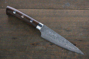 Takeshi Saji R2/SG2 Black Damascus Petty Japanese Chef Knife 135mm with Iron Wood handle
