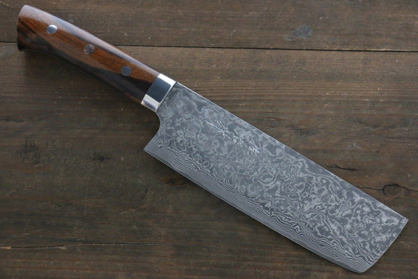 Takeshi Saji R2/SG2 Black Damascus Nakiri Japanese Chef Knife 160mm with Iron Wood handle