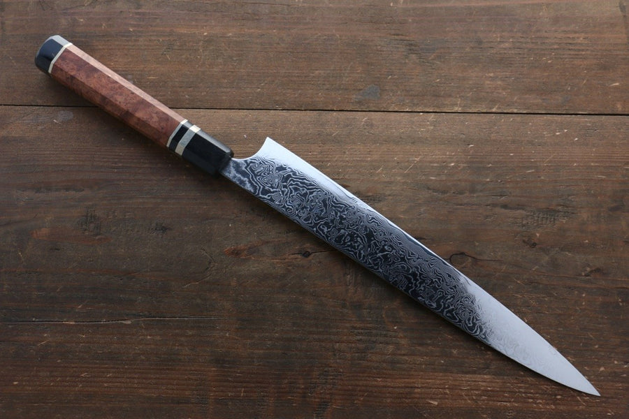 Takeshi Saji R2/SG2 Mirrored Damascus Sujihiki Japanese Chef Knife 270mm with Chinese Quince Handle(ferrule: Water Buffalo with Triple Ring)