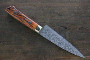 Takeshi Saji R2/SG2 Black Damascus Petty Japanese Chef Knife 135mm with Orange Bone Handle