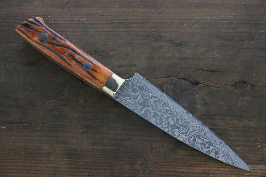 Takeshi Saji R2/SG2 Black Damascus Petty Japanese Chef Knife 135mm with Orange Deer Horn handle