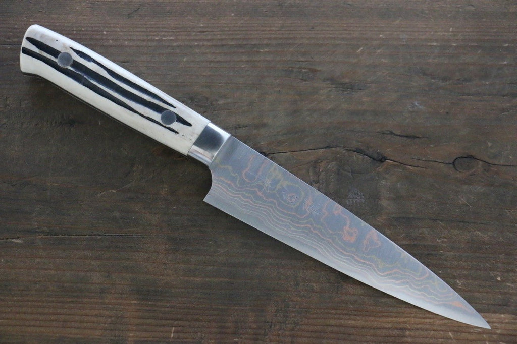 Takeshi Saji Blue Steel No.2 Colored Damascus  Petty Japanese Chef Knife 135mm with White Deer Horn handle