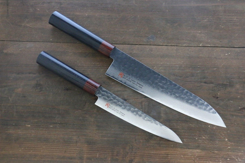 Iseya VG10 33 Layer Damascus Japanese Petty 150mm  and Gyuto 210mm  Set - Japanny - Best Japanese Knife